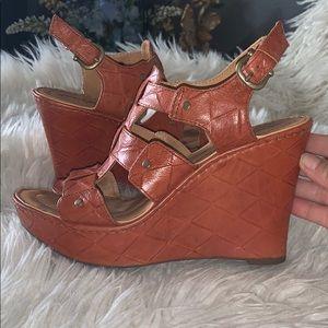 Born crown leather wedges sz 38 eur fit 7 us